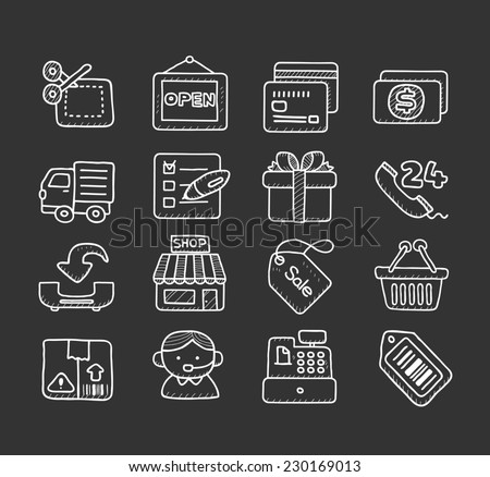 doodle business icon set - stock vector