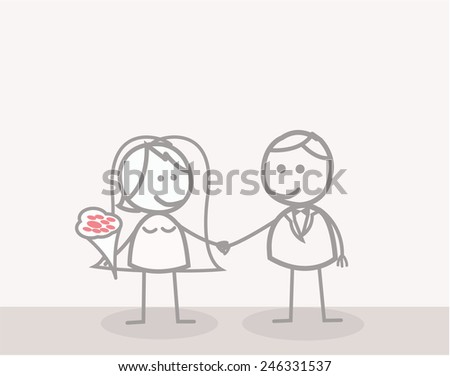 Doodle : Businessman Couple Married - stock vector
