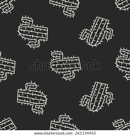doodle cactus seamless pattern background - stock vector