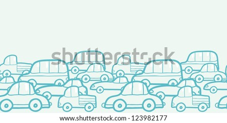 Doodle cars horizontal seamless pattern background border - stock vector
