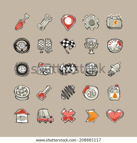Doodle Cars Icons Set. In the EPS file, each element is grouped separately. - stock vector