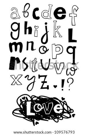 doodle cartoon font - stock vector