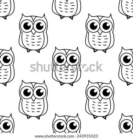 Doodle cartooned owl seamless pattern background for fairy tale or childish design - stock vector