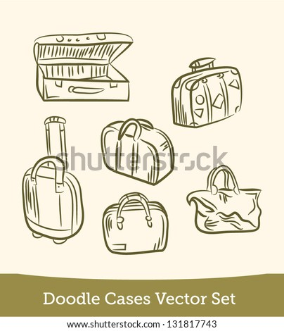 doodle cases set - stock vector
