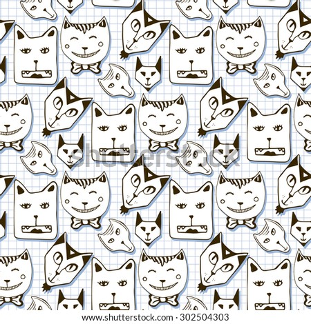 Doodle cats seamless pattern. Hand drawn cartoon cute animal faces background. Used for wallpaper, web page background, wrapping, packaging, textile, scrapbook, fabric, coloring book - stock vector