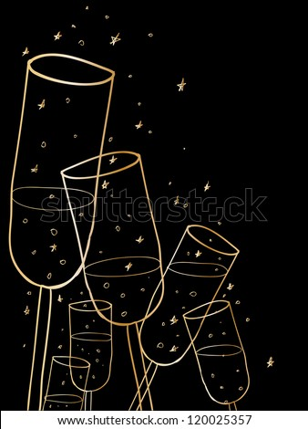 Doodle champagne glasses background. - stock vector