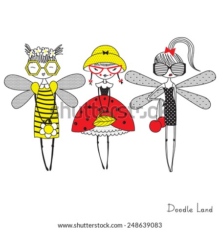 doodle characters of fashion insect  girls - stock vector