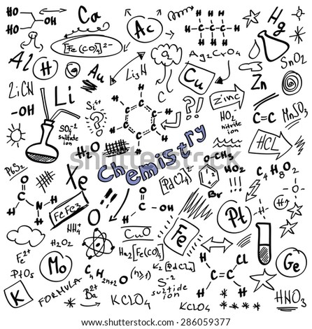Doodle Chemistry formulas isolated on white background, vector illustration design elements - stock vector