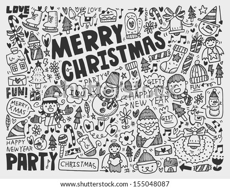 Doodle Christmas background - stock vector