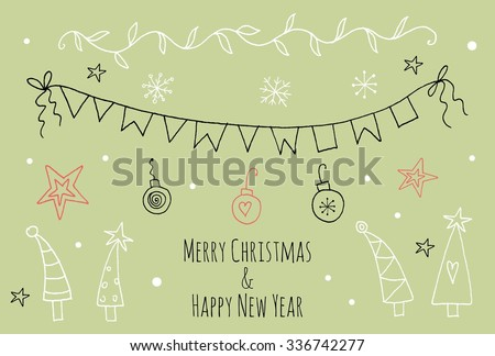 Doodle Christmas season vintage graphic elements. Santa Christmas decorations, presents, snow flakes, stars. Hand drawn set of design elements. Christmas doodle patterns collection. Happy New Year. - stock vector