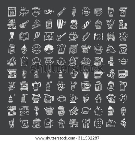 doodle coffee icons - stock vector