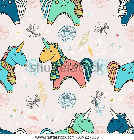 Doodle colorful unicorns - seamless pattern. Unicorn pattern, Vector - stock vector