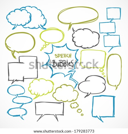 Doodle comic speech bubbles design elements set isolated vector illustration - stock vector