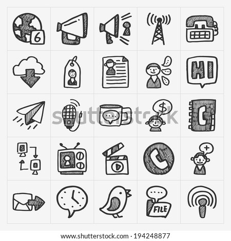 doodle communication icons set - stock vector