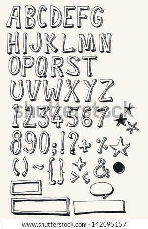 Doodle Complete Alphabet Set/ Set of hand sketched and doodled ABC alphabet letters and numbers with characters also containing other orthographic symbols, speech bubbles and frame isolated on white - stock vector