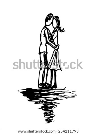 Doodle Couple's Kiss of Love - stock vector