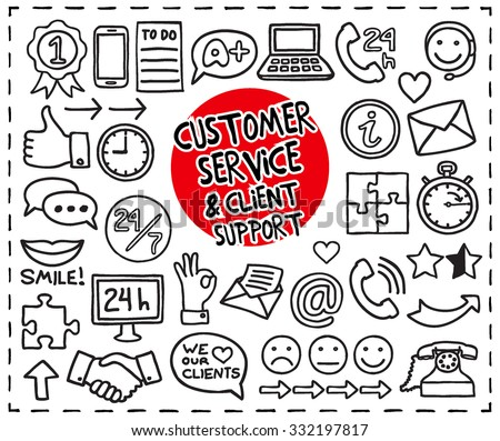 Doodle Customer Service icons set. Freehand drawn graphic elements: 24 hours phone support, thumb up, shaking hands, ok sign, clock, speech bubbles, puzzle pieces, smile and more. Vector illustration. - stock vector