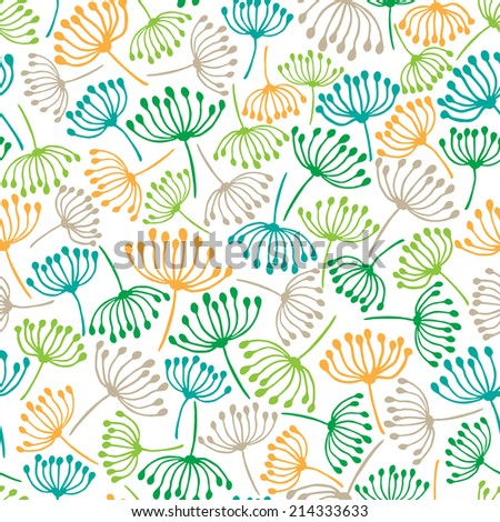 Doodle dandelion. Seamless hand drawn pattern. - stock vector