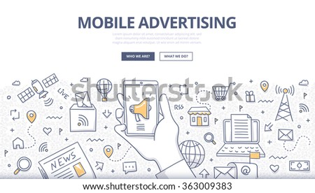 Doodle design style concept of digital advertising technologies on mobile devices - stock vector