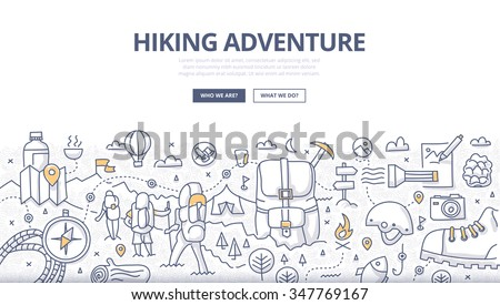 Doodle design style concept of hiking, backpacking trip, trekking in mountains, adventure lifestyle. Modern line style illustration for web banners, hero images, printed materials - stock vector