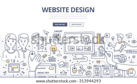 Doodle design style concept of layout web design, creativity in building web page, website development technology.  Modern line style illustration for web banners, hero images, printed materials - stock vector
