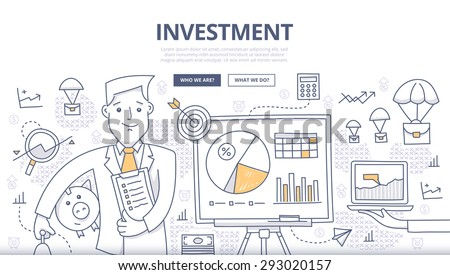 Doodle design style concept of making investments, crowd funding, growing business profit, building effective financial strategy. Modern concepts for web banners, online tutorials, printed materials - stock vector