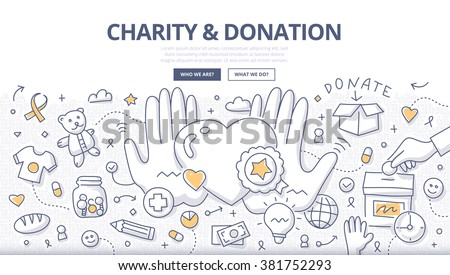 Doodle design style illustration of giving help, donating money, clothing, food, medicines. Charity & donation line style concept for web banners, printed materials - stock vector
