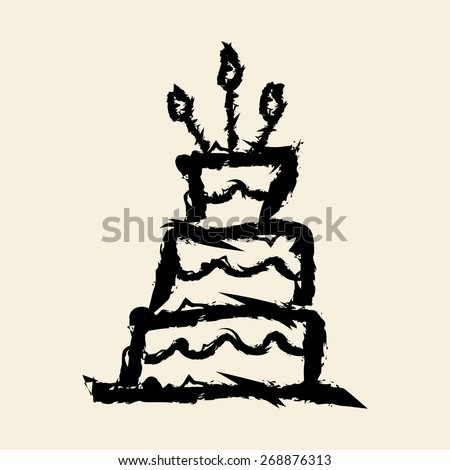 doodle drawing cake - stock vector