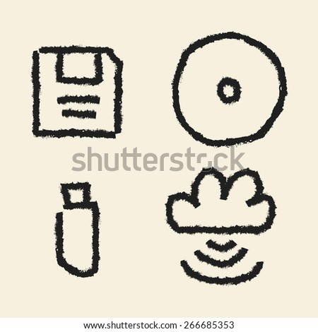 doodle drawing data storage - stock vector