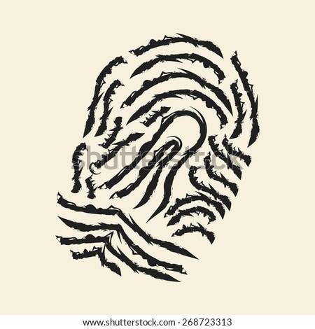 doodle drawing fingerprint - stock vector