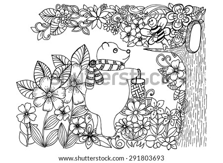 Doodle drawing of bear and bee in a magic forest - stock vector