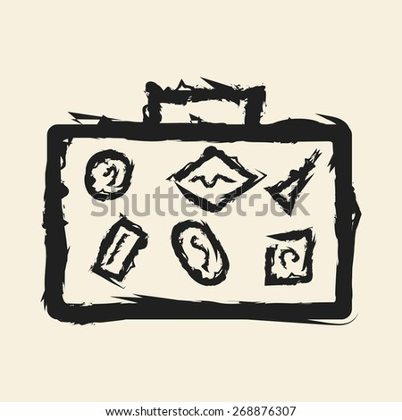 doodle drawing travel bag - stock vector
