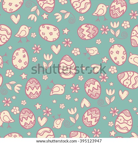 Doodle easter pattern - stock vector