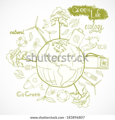Doodle ecology and energy concept with tree leaf flower around the globe decorative elements vector illustration - stock vector
