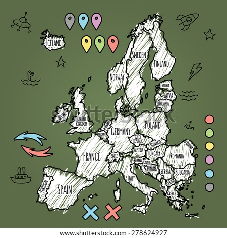 Doodle Europe map on green chalkboard with pins and extras vector  illustration - stock vector