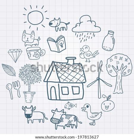 doodle farming - stock vector