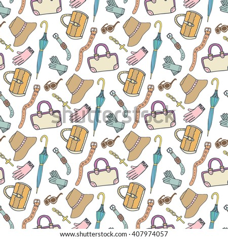 Doodle fashion pattern with accessories and handbags. Vector hand drawn seamless pattern. Woman shopping background - stock vector