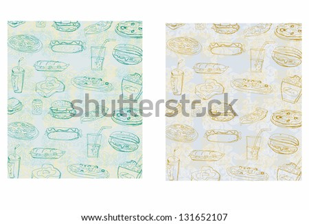 doodle fast food seamless background - stock vector