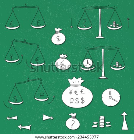 Doodle finance banking money exchange hand drawn icon set. Isolated, vector. White paper on green background. - stock vector
