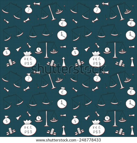 Doodle finance banking money exchange hand drawn pattern. Seamless, vector. - stock vector