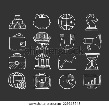 Doodle finance icon set - stock vector