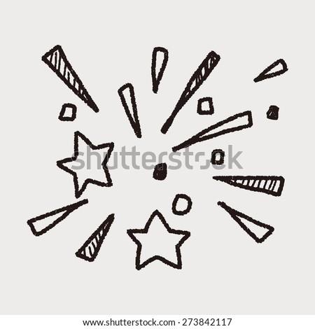 doodle firework - stock vector