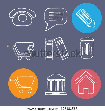 doodle flat office icons set, vector - stock vector