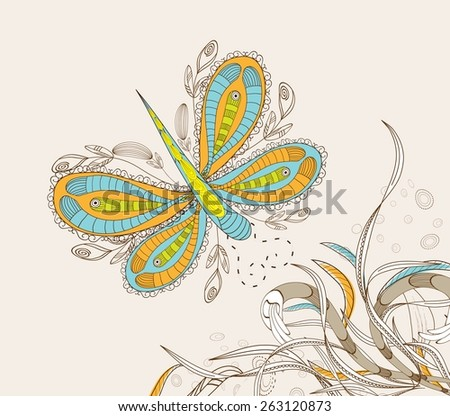 doodle floral background, hand drawn retro - stock vector