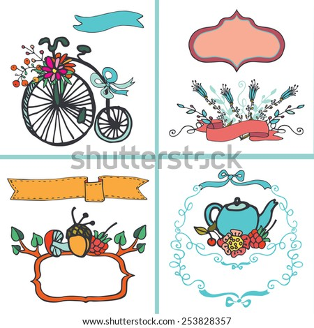 Doodle floral card set.Colored hand sketched flowers,branches,bicycle,labels,vintage elements.For invitation,menu.Cute holiday Vector.Congratulation wedding,birthday,Easter,mothers day,Valentines day - stock vector
