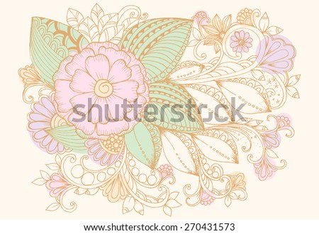 Doodle flower design elements for birthday celebration card or invitation to party - stock vector