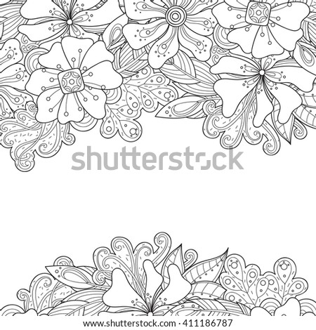 Doodle flowers and leaves invitation card.