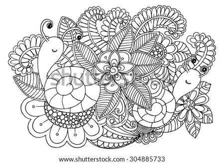 Doodle flowers and snaike in black and white - stock vector