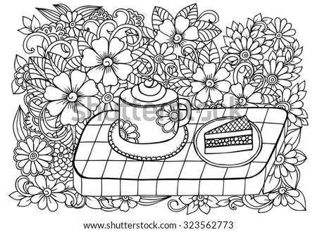 Doodle flowers around cup of coffee and  - stock vector