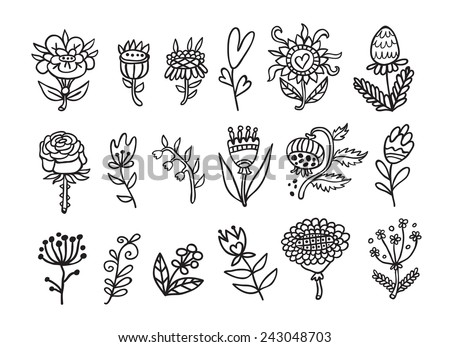 Doodle flowers contour collection.   - stock vector